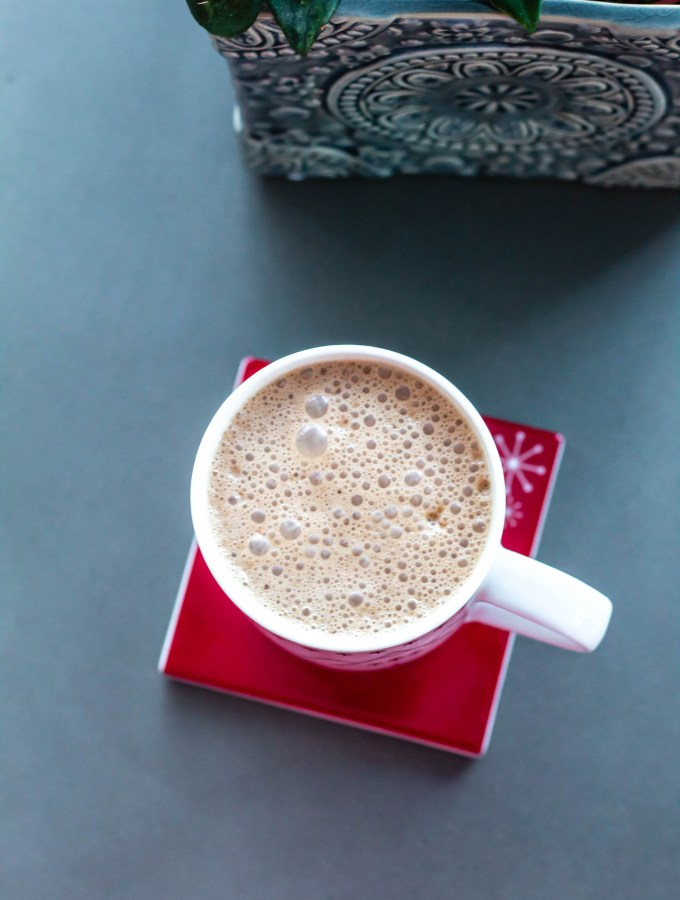 this photo shows a vegan mocha with a boost from protein powder and MCT oil.