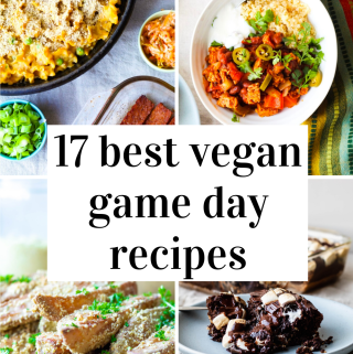 a pinterest graphic showing four different vegan game day recipes: tempeh chili, cauliflower mac and cheese, crispy parmesan oven fries, and s'mores cake!