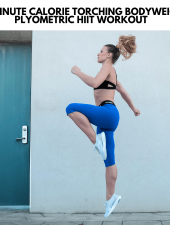a woman performing a jumping exercise on cement outside