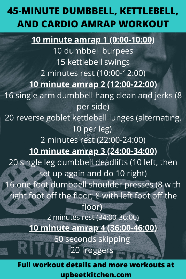 a pinterest graphic with the entire workout listed for easy access