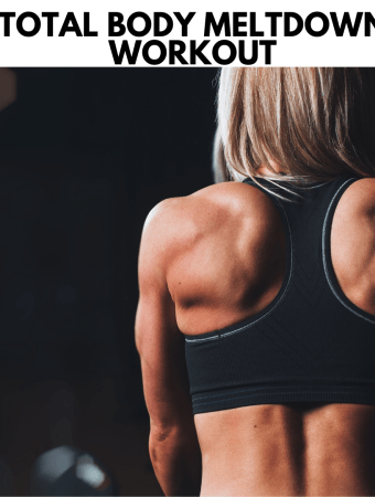 featured image for the workout showing a strong woman's back putting dumbbells down on a rack