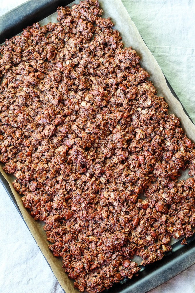 overhead shot of the freshly baked granola