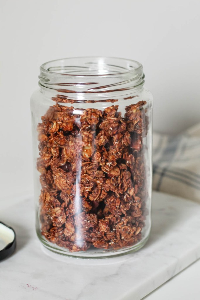 jar of the chocolate almond butter granola