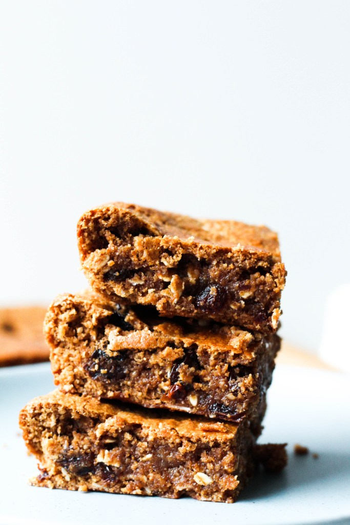 straight on shot of a stack of the three oatmeal raisin blondies.