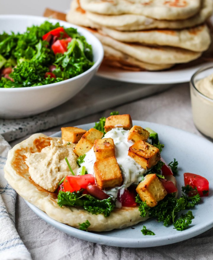 straight on shot of the tofu naanwich on a plate