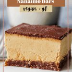 Pinterest pin with a close up of the Nanaimo bar and the recipe title in bold