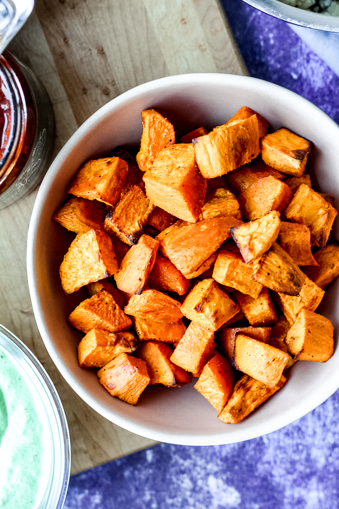 overhead shot of the roasted sweet potato in a bowl