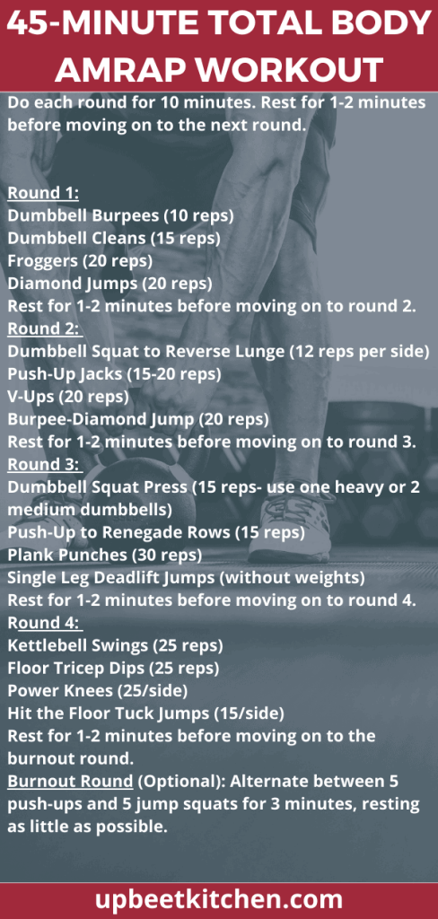 long Pinterest pin with the workout description