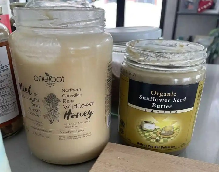 photo of sunflower seed butter and honey in jars