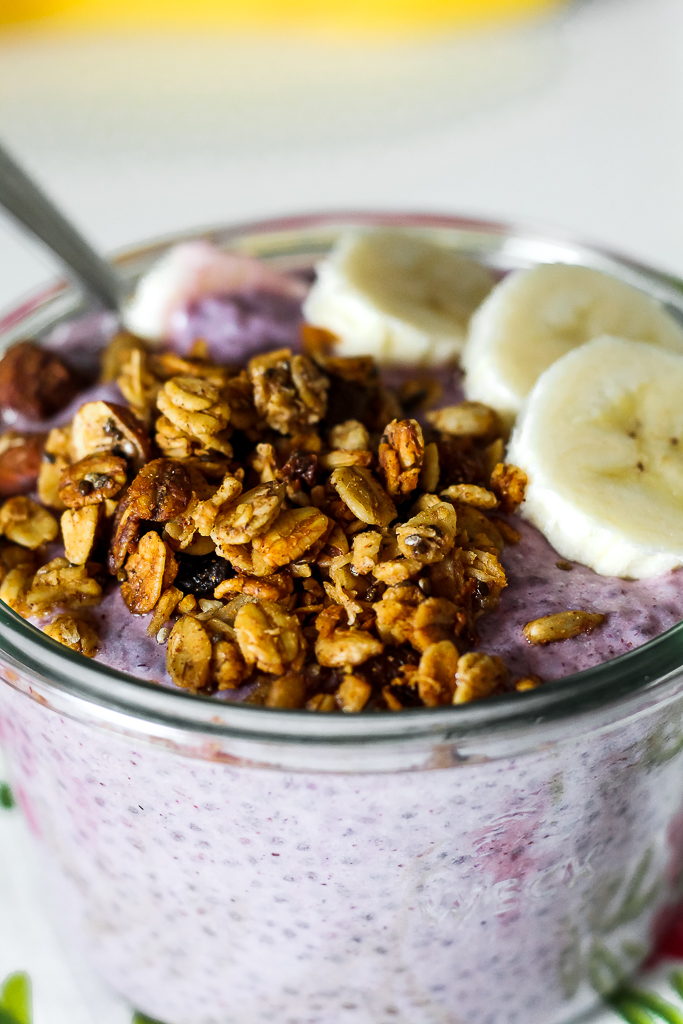 close up of the chia pudding bowl with granola and banana on top