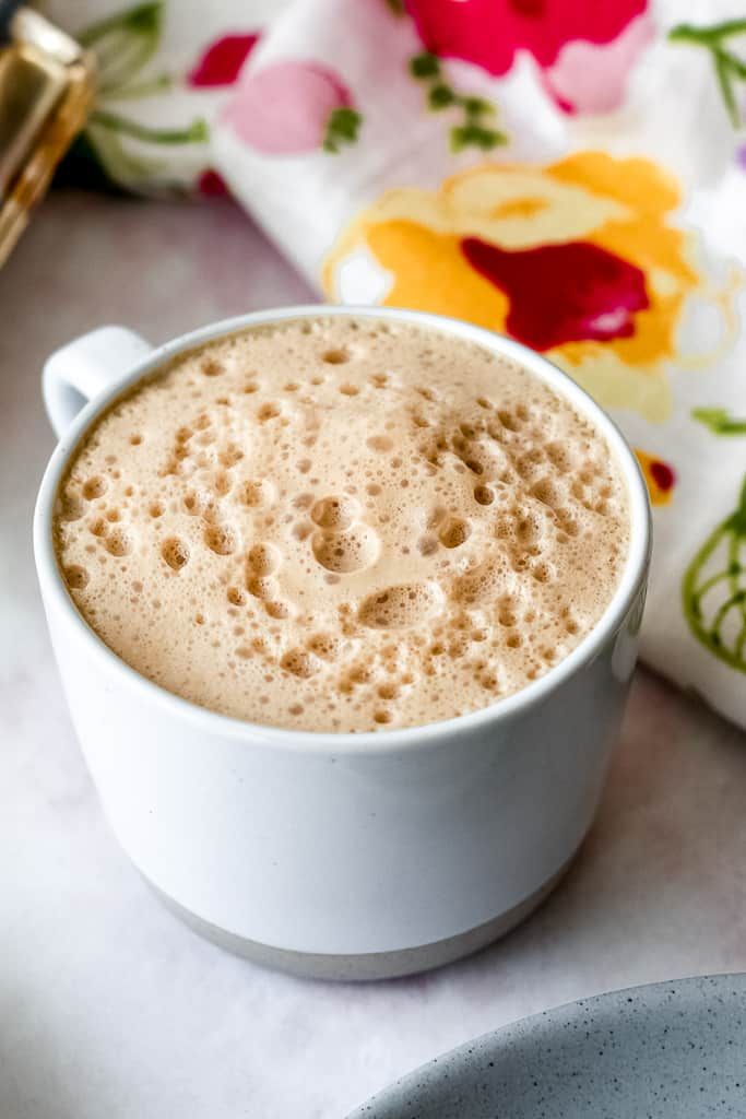 straight on shot of the dairy free white chocolate snickerdoodle latte