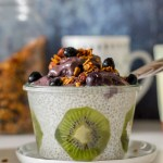 straight on shot of a bowl of lemon blueberry chia pudding in a Weck bowl