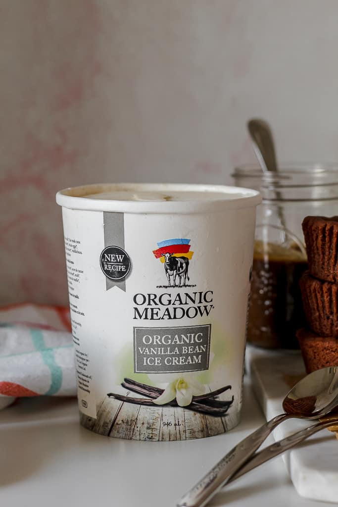straight on shot of a container of organic vanilla ice cream