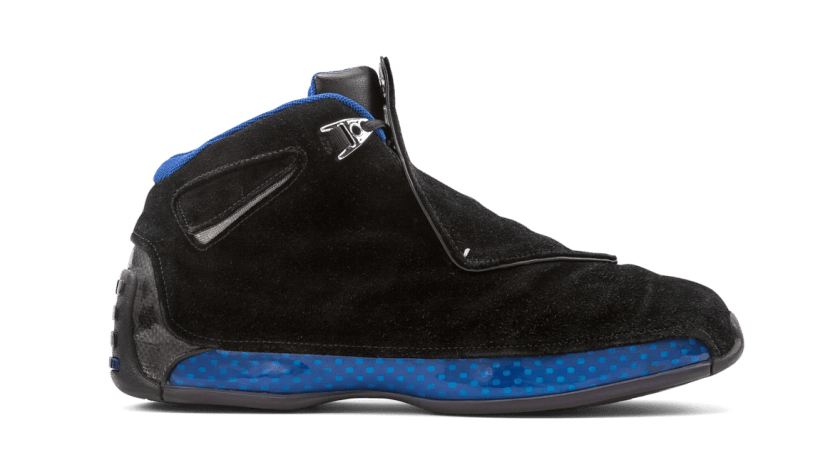 Air Jordan 18 Black Sport Royal with metallic silver upper eyelets design