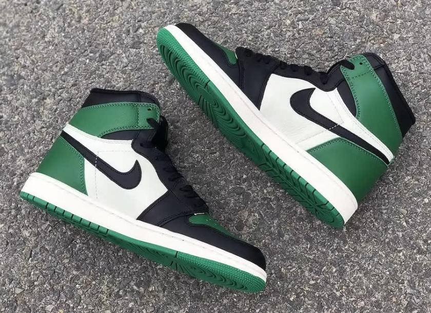 Air Jordan 1 Pine Green with premium quality tongue and collar