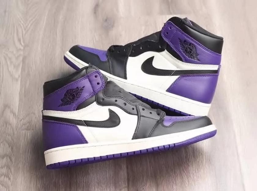 Air Jordan 1 Retro High OG Purple with black eyelets