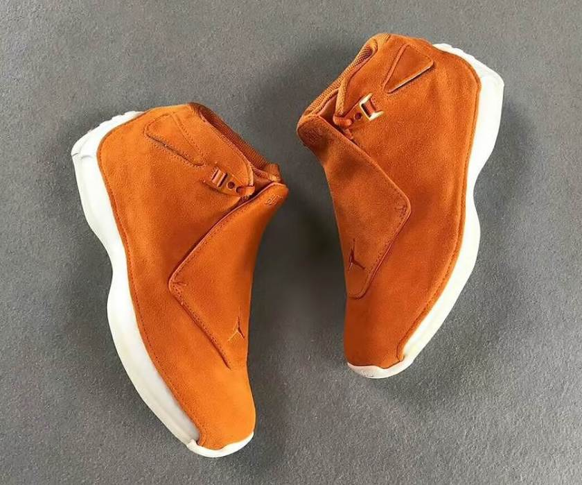 Air Jordan 18 Orange Suede with contrasting white on the heel