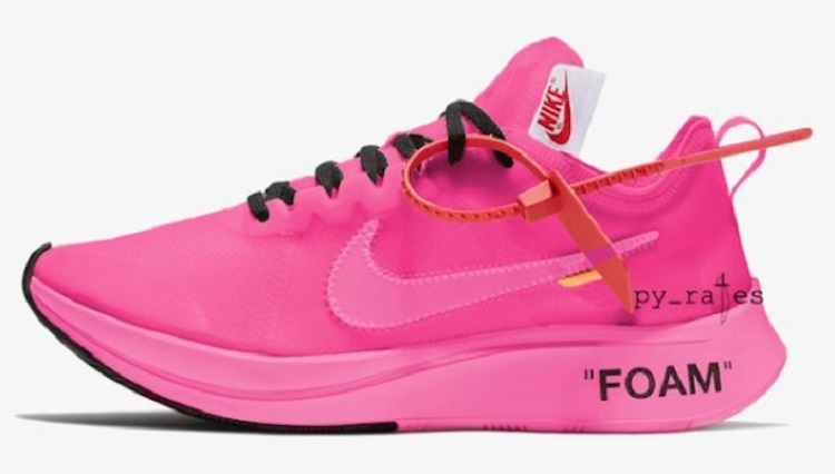 Off-White + Nike Zoom Fly SP with tulip pink and racer pink color
