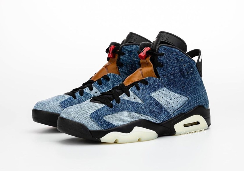 Air Jordan 6 Washed Denim with Red, and Black color mixture