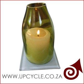 green glass hurricane candle holder