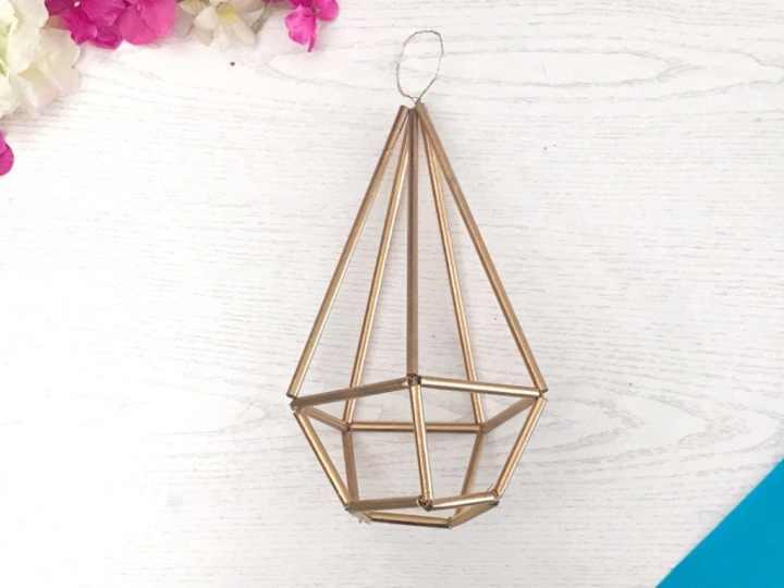 geometric plant hanger DIY drinking straws