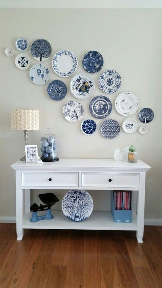 blue plates on a wall