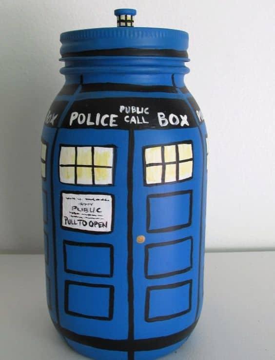 dr who mason jar money box