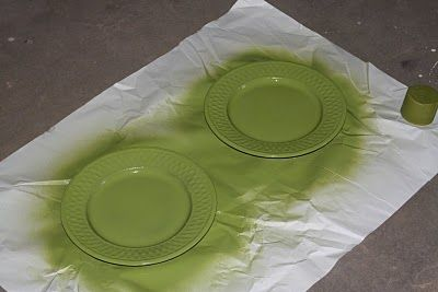 upcycle dish plates spray paint