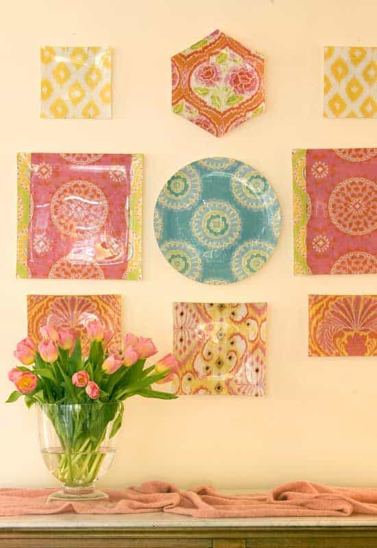 decoupage plates on wall