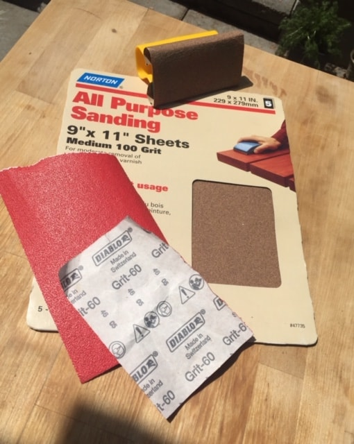 sandpaper for kitchen trolley paint project