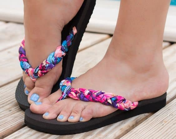 braided flip flop upcycle