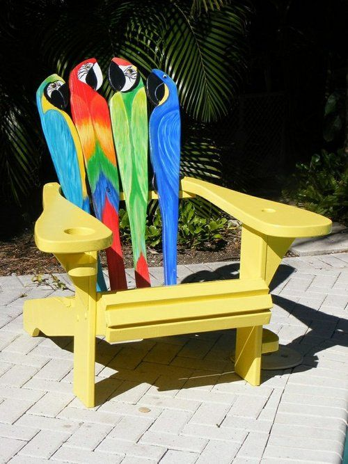 painted Adirondack chair parrots