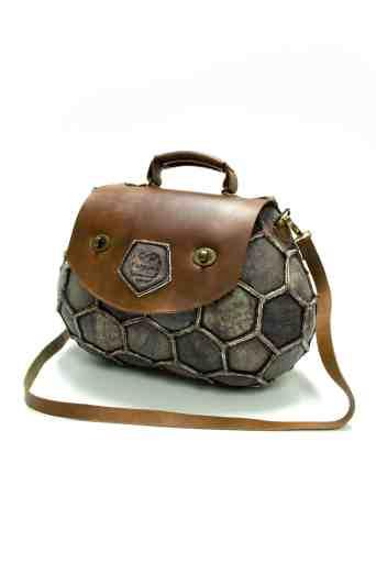 soccer ball upcycled to handbag