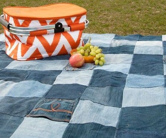 upcycled denim picnic blanket