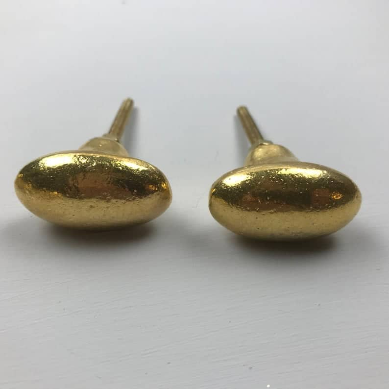 chunky oval gold drawer pulls