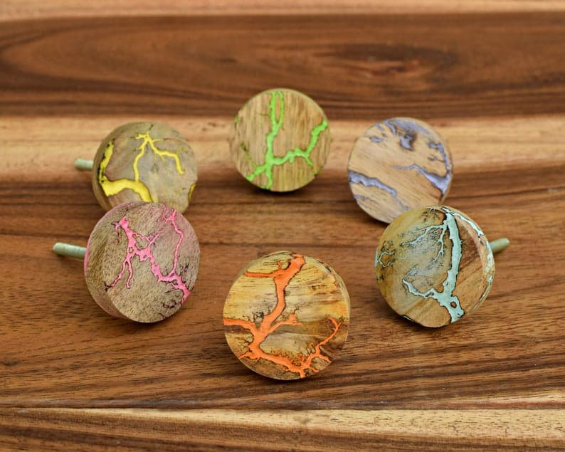 fractal colour wood drawer knobs