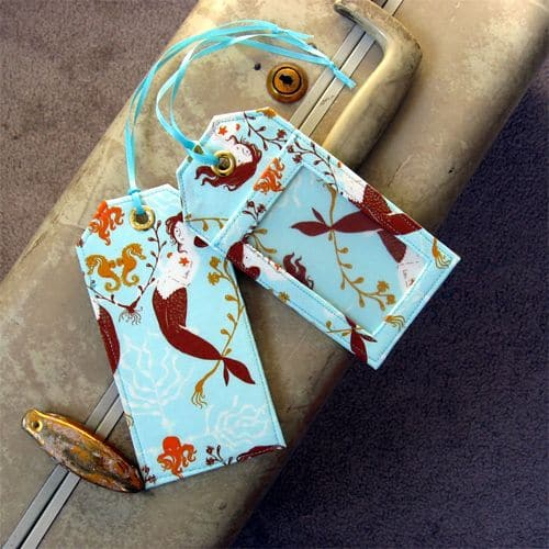 luggage tags from scrap fabric