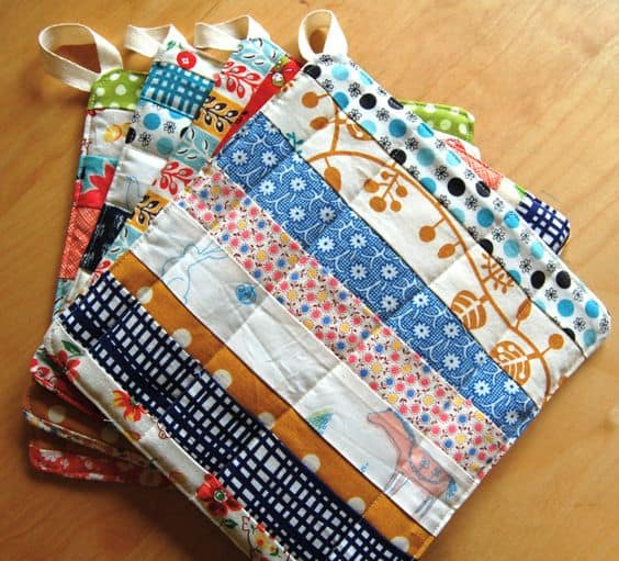 scrap fabric strip pot holders