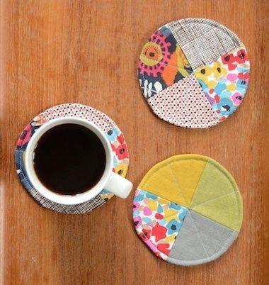 scrap fabric coasters