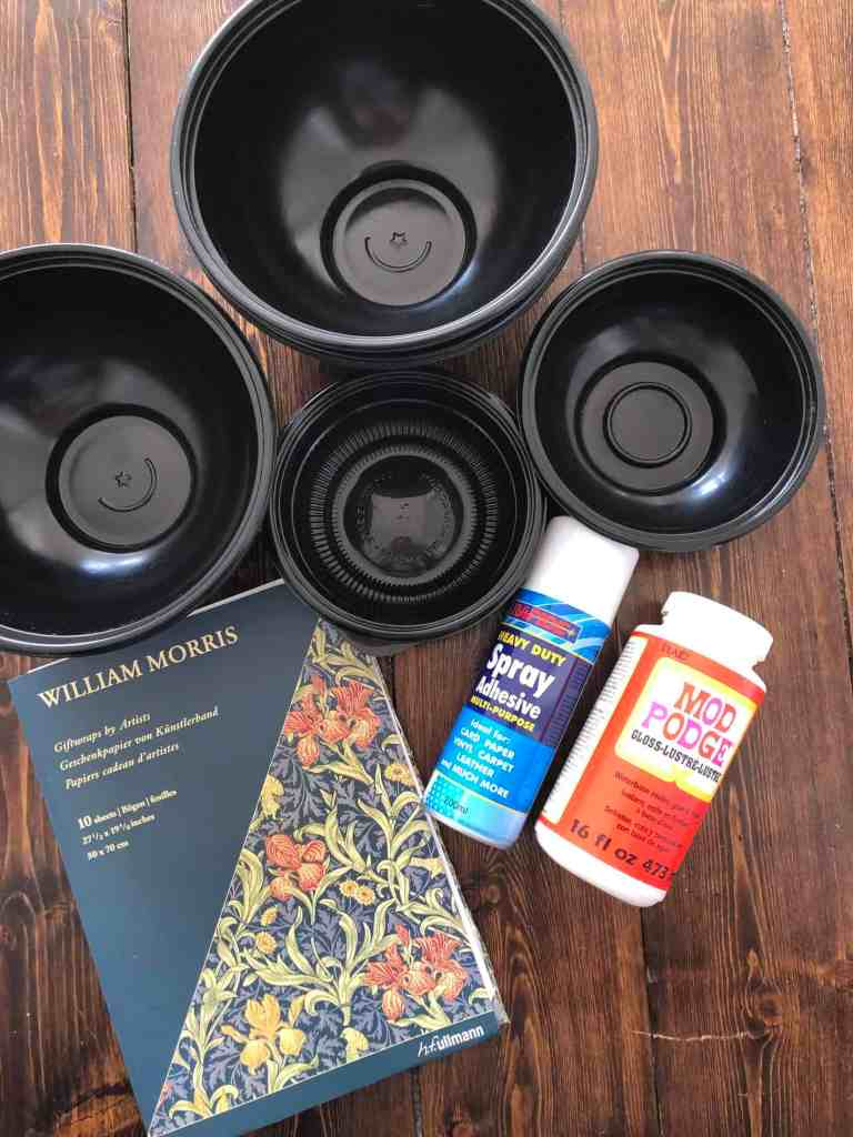 materials for upcycling takeaway containers into trinket bowls