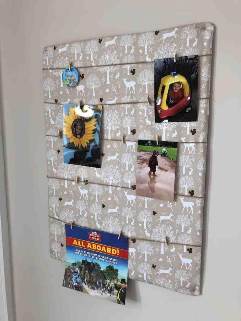 DIY photo display board from cardboard