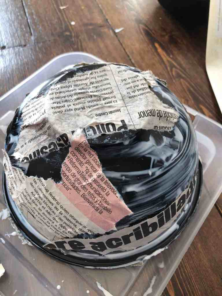 upcycling takeaway container into trinket bowl with decoupage