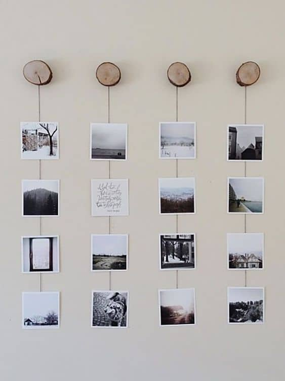 simple photo display idea for blank walls