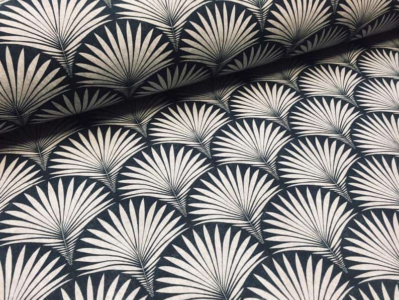 Art Deco scallop pattern upholstery fabric black and silver