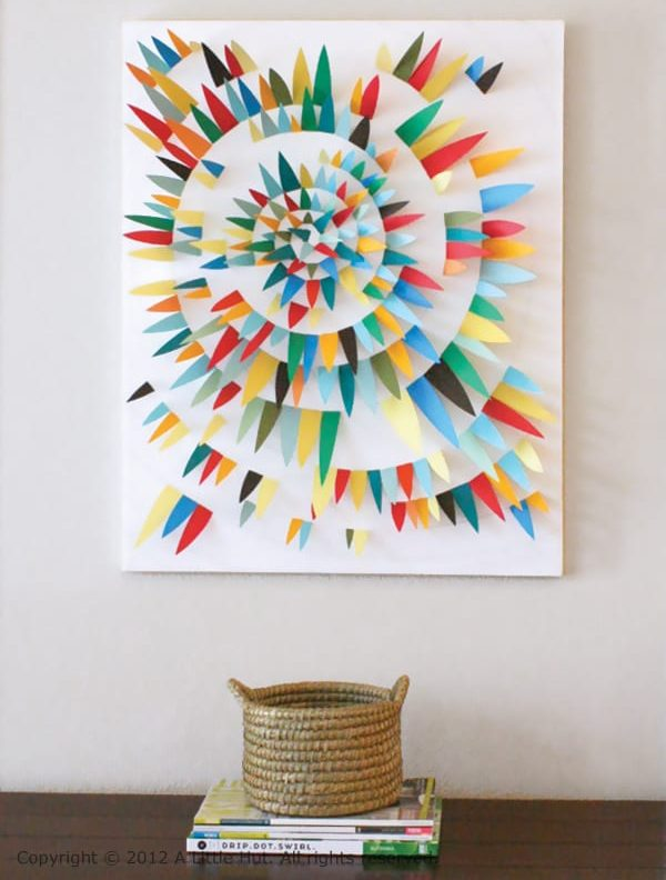 diy scrap paper art piece to fill a blank wall
