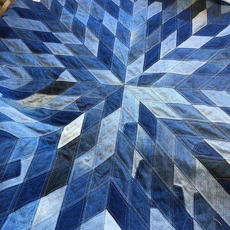 denim diamond quilt project