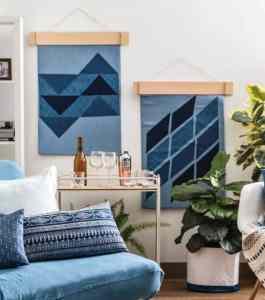 geometric denim wall hanging tutorial