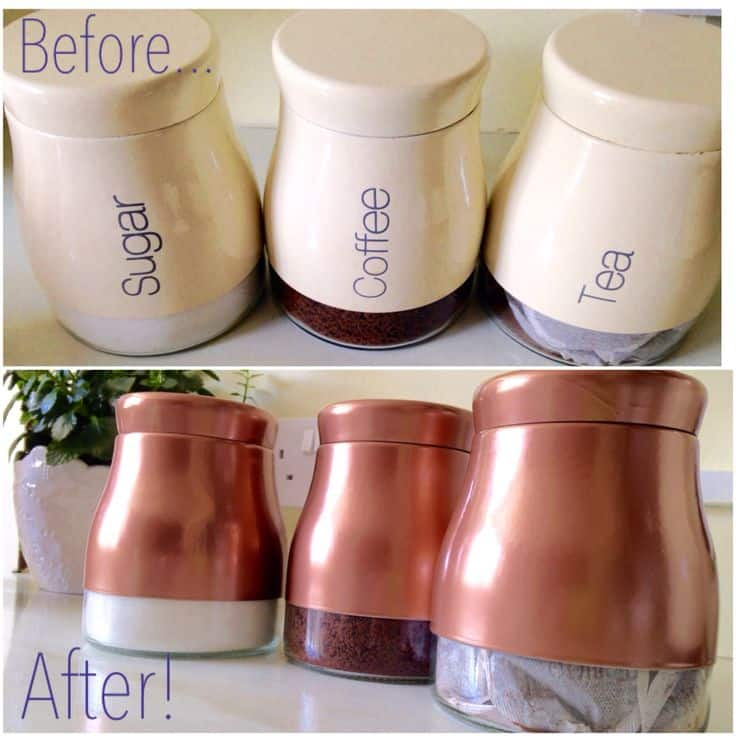 copper spray painted coffee and tea canisters