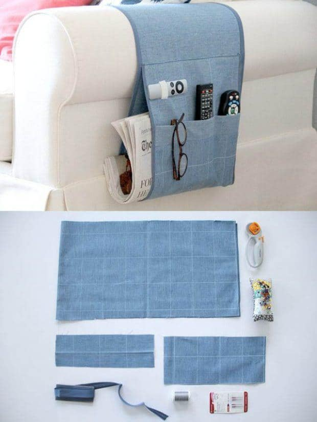 sofa organiser tutorial upcycle project