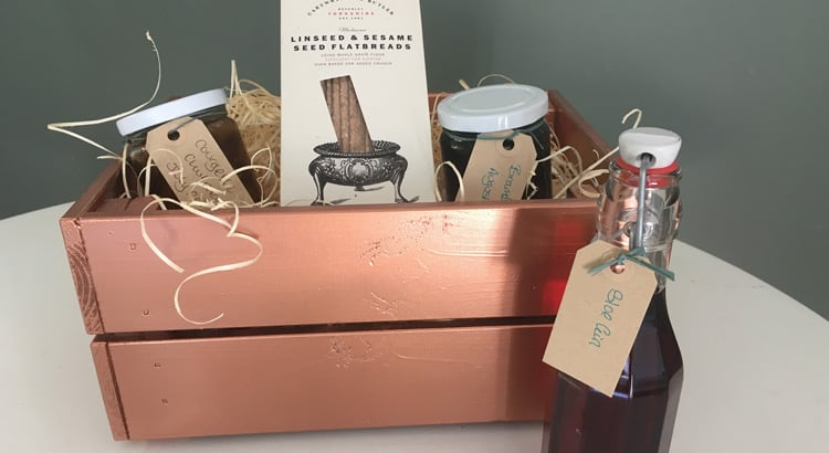 copper spray painted wooden crate as gift box